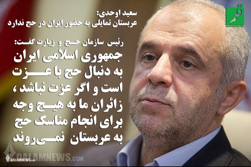 سعید اوحدی:اگر عزت نباشد، زائران ما به هیچ وجه برای انجام مناسک حج به عربستان نمیروند