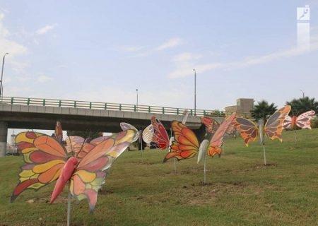 نصب المان پروانهها در تقاطع غیرهم سطح ولیعصربندرعباس