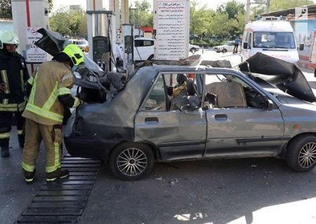 انفجار مخزن خودرو پراید در جایگاه سیانجی در صدمتری مشهد